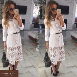 Купить белое женское платье-рубашку с кружевным низом выгодно