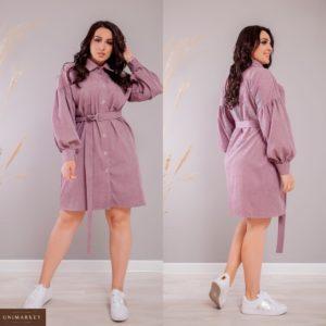 Приобрести лиловое женское вельветовое платье-рубашка с объемными рукавами (размер 42-52) недорого