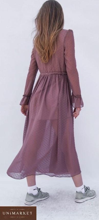 Приобрести цвета чайная роза женское шифоновое платье на подкладке с длинным рукавом недорого