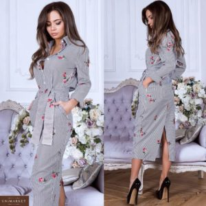 Заказать черно-белое женское полосатое платье-рубашка с вышивкой в Украине