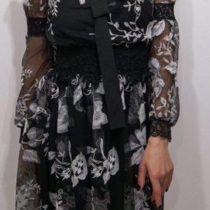 Купить женское черное шифоновое платье с вышивкой (размер 42-52) хорошего качества