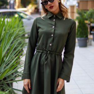 Купить хаки женское платье-рубашка на завязке с расклешенной юбкой по низким ценам