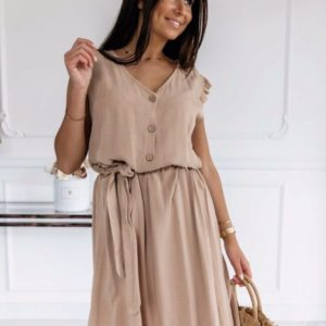 Заказать бежевое женское легкое платье из штапеля с рукавами-крылышками (размер 42-48) хорошего качества