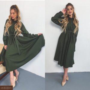 Купить хаки женское платье-рубашка из габардина с расклешенной юбкой в Украине