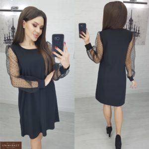 Купить женское черное платье с рукавами из органзы в горошек по низким ценам
