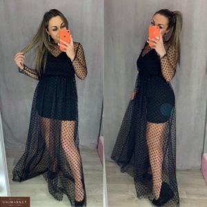 Купить женское черное платье двойка с накидкой из сетки в горошек по скидке