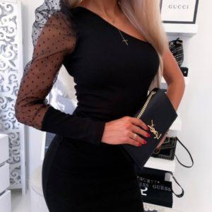 Заказать черное женское платье с рукавом на одно плечо из органзы в горох по сикдке