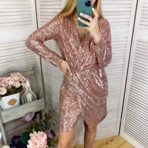 Заказать золотое женское платье на запах с пайетками на подкладке (размер 42-48) по скидке