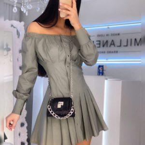 Купить серое женское платье с открытыми плечами на кнопках из хлопка (размер 42-52) недорого