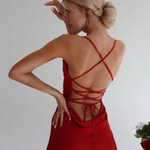 Приобрести красное женское летнее платье комбинация дешево