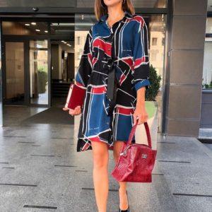 Заказать красно-синее женское платье - рубашка оверсайз с поясом по скидке