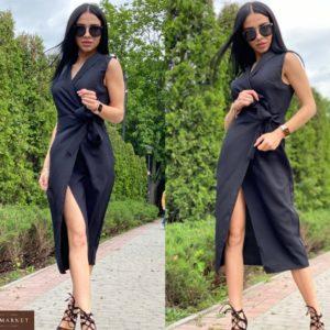Купить женское черное платье миди на запах на завязке по низким ценам