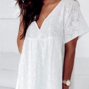 Купить белое женское свободное легкое платье из прошвы на подкладке по низким ценам