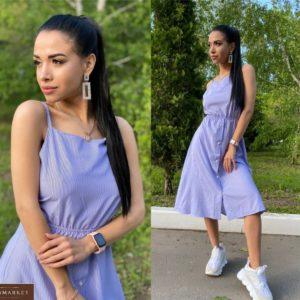 Купить голубое женское принтованное платье миди с завязкой на спине выгодно