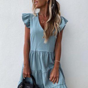 Заказать голубое женское свободное летнее платье в мелкий горох с воланами (размер 42-56) дешево