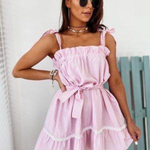 Заказать розовое женское летнее платье на завязках с поясом недорого