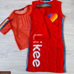 Купить красное детское принтованное платье с накидкой из сетки по скидке