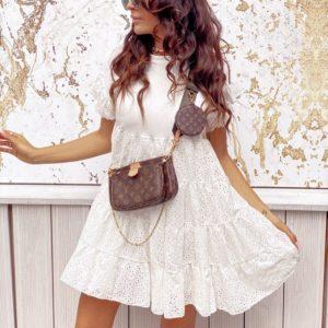 Заказать женское свободное белое платье из прошвы с воланами (размер 42-58) в Украине