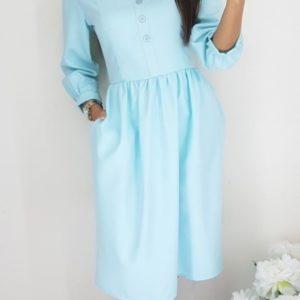 Купить ментоловое женское платье миди с круглым вырезом и пуговицами дешево