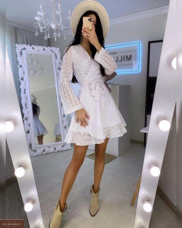 Купить белое женское платье на запах из прошвы с поясом (размер 42-52) в Одессе, Львове