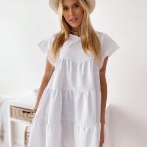 Приобрести женское белое oversize платье с воланами (размер 42-58) в Украине