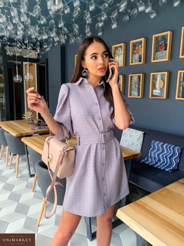 Купить лиловое женское платье-рубашка с рукавами-фонариками 3/4 в клетку дешево