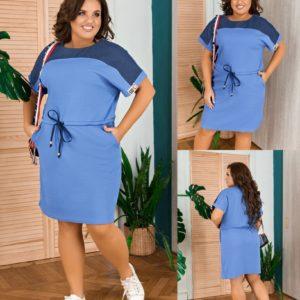 Купить голубое женское летнее платье прямого кроя с коротким рукавом (размер 50-58) по скидке