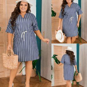 Заказать синее женское платье-миди из летней джинсовой ткани (размер 50-58) хорошего качества