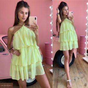 Купить желтое женское шифоновое платье с рюшами на подкладке выгодно