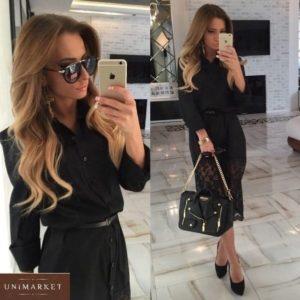 Приобрести черное женское платье-рубашку с кружевным низом по скидке