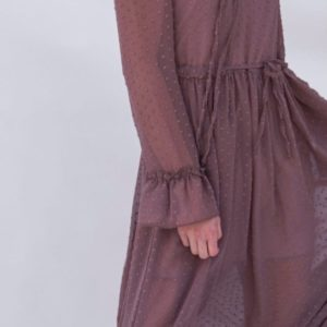 Купить цвета чайная роза женское шифоновое платье на подкладке с длинным рукавом по скидке
