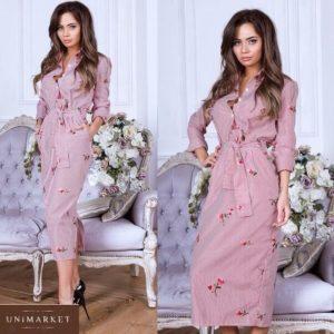 Купить красно-белое женское полосатое платье-рубашка с вышивкой по низким ценам
