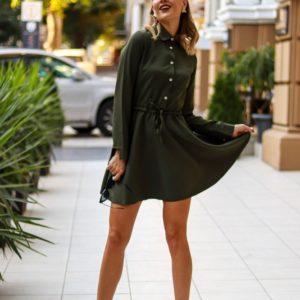 Заказать хаки женское платье-рубашка на завязке с расклешенной юбкой выгодно
