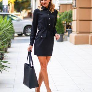 Купить черное женское платье-рубашка на завязке с прямой юбкой в Харькове