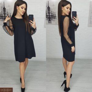 Приобрести женское черное платье с рукавами из органзы в горошек дешево