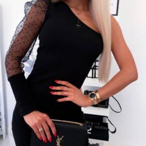 Купить черное женское платье с рукавом на одно плечо из органзы в горох хорошего качества