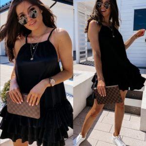Заказать черное женское летнее свободное платье с воланами недорого