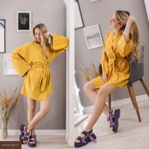 Заказать желтое женское платье-халат из натурального льна по скидке