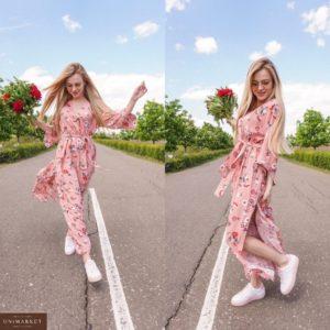 Купить розовое женское длинное платье с широкими рукавами в Украине