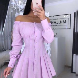 Заказать лиловое женское платье с открытыми плечами на кнопках из хлопка (размер 42-52) в Украине