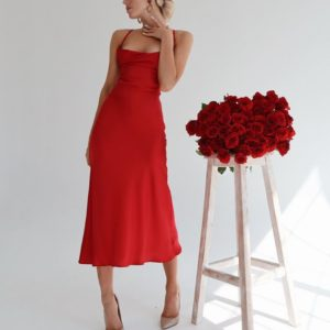 Заказать красное женское летнее платье комбинация недорого