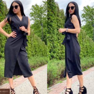 Приобрести женское черное платье миди на запах на завязке недорого