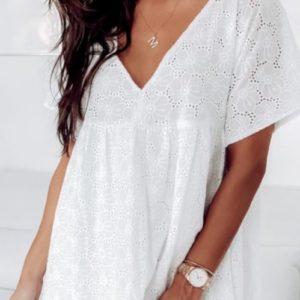 Заказать белое женское свободное легкое платье из прошвы на подкладке хорошего качества