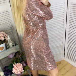 Приобрести золотое женское платье на запах с пайетками на подкладке (размер 42-48) по доступным ценам