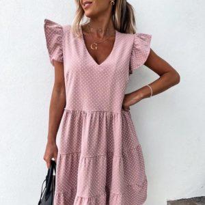 Купить розовое женское свободное летнее платье в мелкий горох с воланами (размер 42-56) выгодно