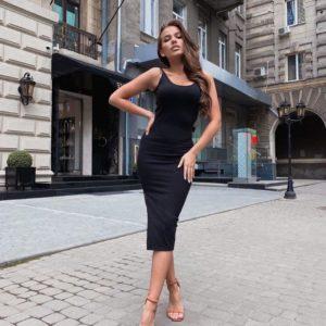 Купить женское чёрное базовое платье - майка дешево