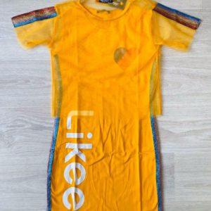 Заказать желтое детское принтованное платье с накидкой из сетки недорого