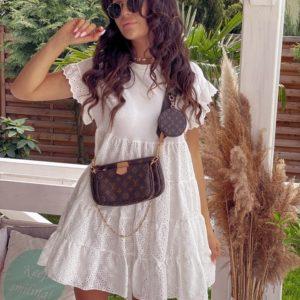 Купить белое женское свободное белое платье из прошвы с воланами (размер 42-58) выгодно