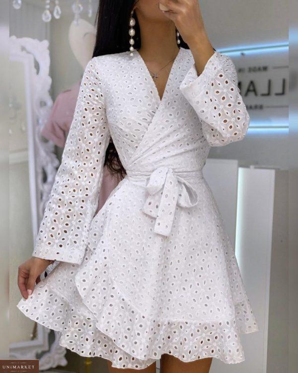 Приобрести белое женское платье на запах из прошвы с поясом (размер 42-52) в Харькове