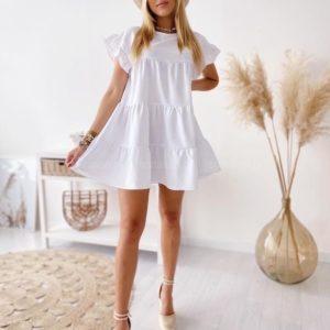 Купить женское белое oversize платье с воланами (размер 42-58) онлайн